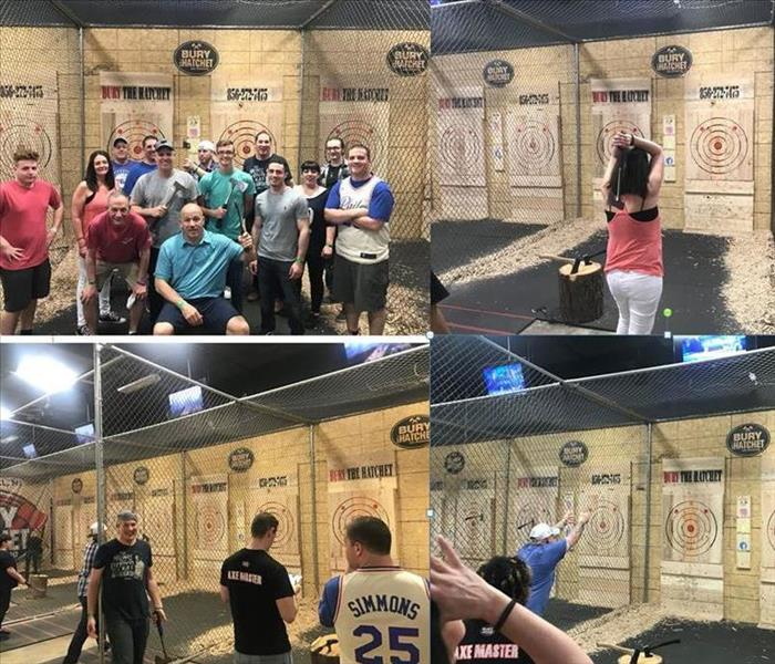 Co-Workers Gather to Throw Axes