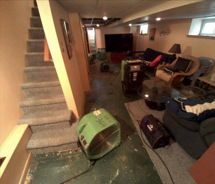 Water Damage Flooded Basement Cleanup and Restoration!