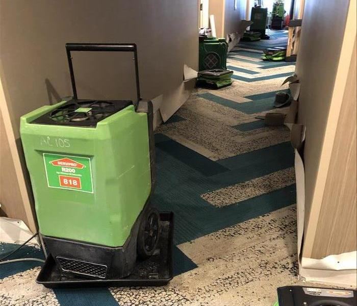 SERVPRO equipment on Hotel hallway carpet